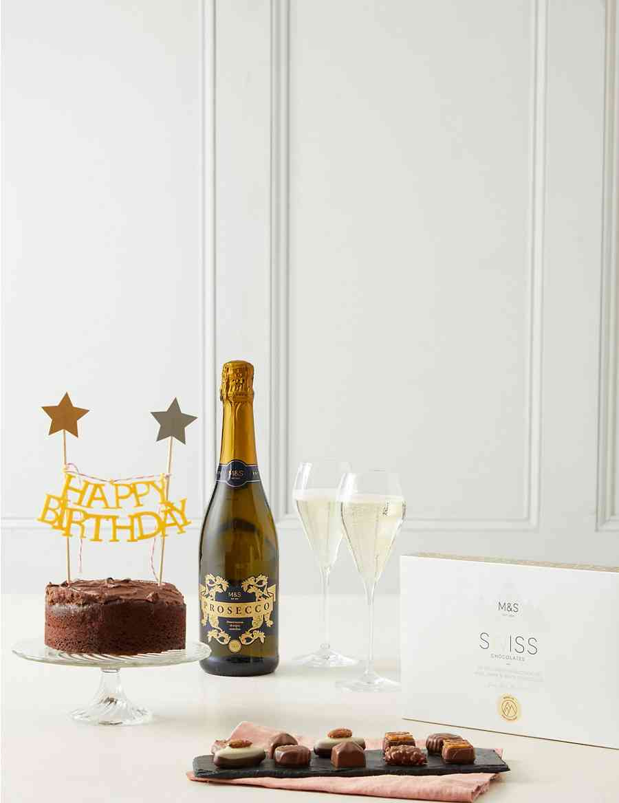 Happy Birthday Prosecco Chocolates Cake Gift