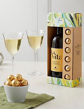 White Wine & Belgian Chocolates Gift Set