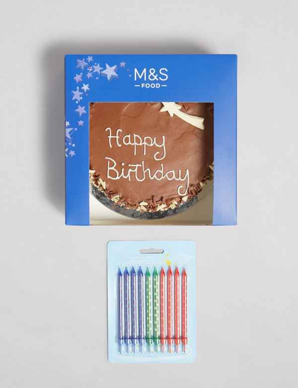 Super Chocolate Birthday Cake With Candles Gift Ms Personalised Birthday Cards Veneteletsinfo