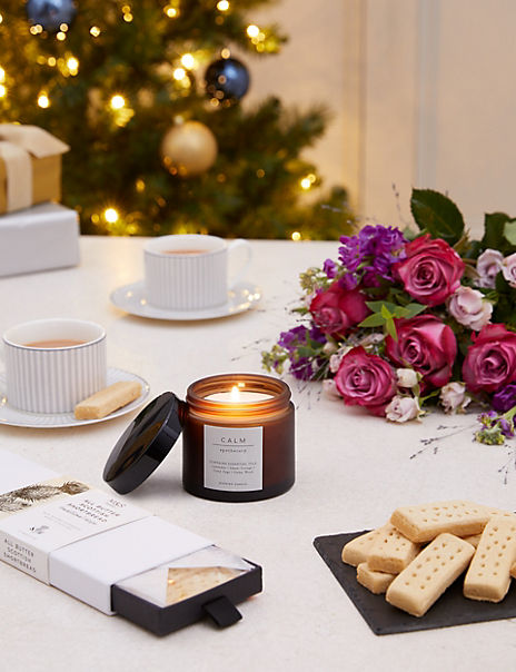 Spirit of Christmas Rose Bouquet, Shortbread & Scented Candle Gift