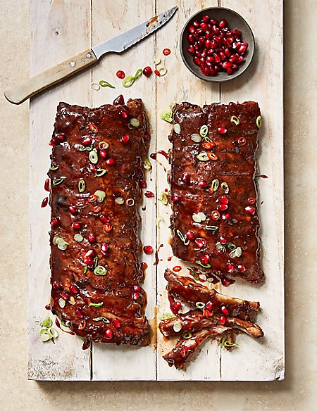 Slowcooked Outdoor Bred British Pork Rib Rack with Pomegranate & Chilli Glaze (Serves 4)