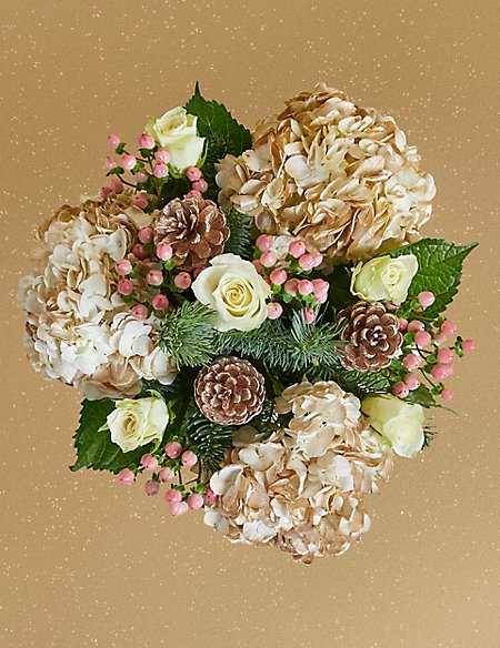 The Collection Frosted Gold Hydrangea & White Rose Bouquet