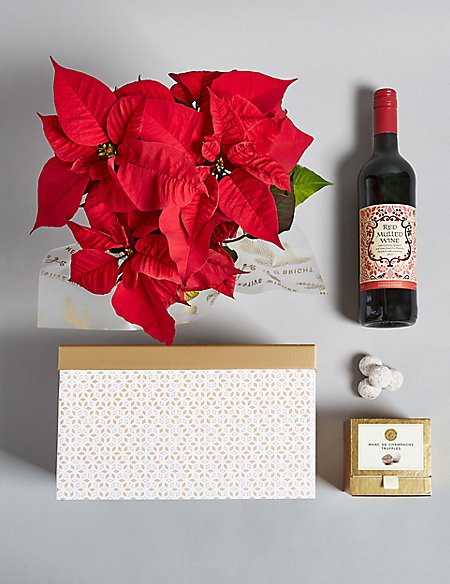 Festive Poinsettia, Mulled Wine & Truffles Hamper