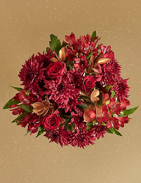 Crimson Christmas Bouquet With Vase Available For Delivery From