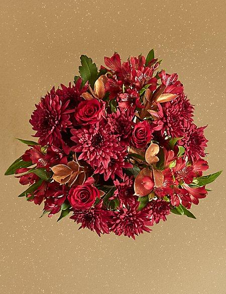 Crimson Christmas Bouquet with Vase