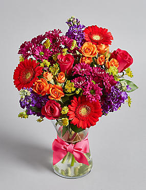 Summer Stocks & Rose Bouquet with Vase