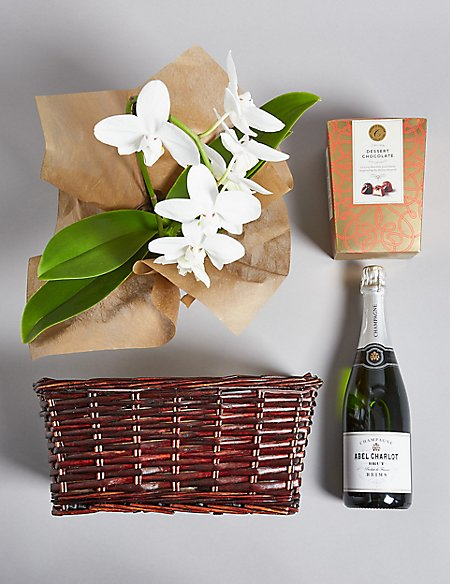Luxury White Cascade Orchid, Champagne & Italian Chocolates Hamper