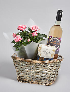 Pink Rose Plant, Rose Wine & Swiss Chocolates Hamper
