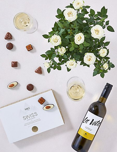 White Rose Plant, White Wine & Swiss Chocolates Hamper