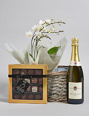 Contemporary Prosecco, Belgian Chocolates & Orchid Hamper