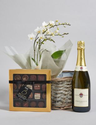 Contemporary Prosecco Belgian Chocolates u0026 Orchid H&er & Wedding Day Gifts u0026 Presents for Bride u0026 Groom | Mu0026S