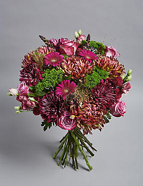 The Collection Purple Rose & Burgundy Bloom Bouquet with Sparks of Gold