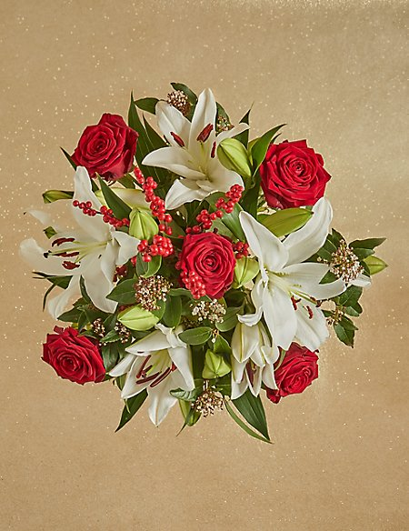 The Collection Christmas Lily & Rose Bouquet