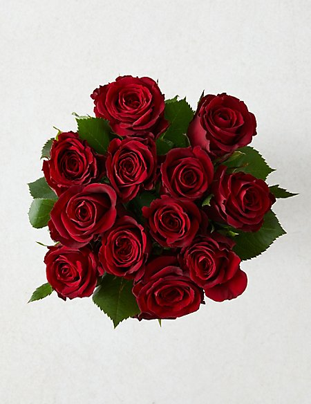 Valentine's Dozen Red Roses with Prosecco