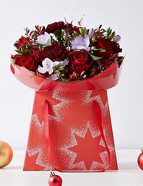 Christmas Rose & Freesia Flower Gift Bag