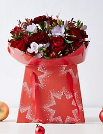 Christmas Rose & Freesia Flower Gift Bag