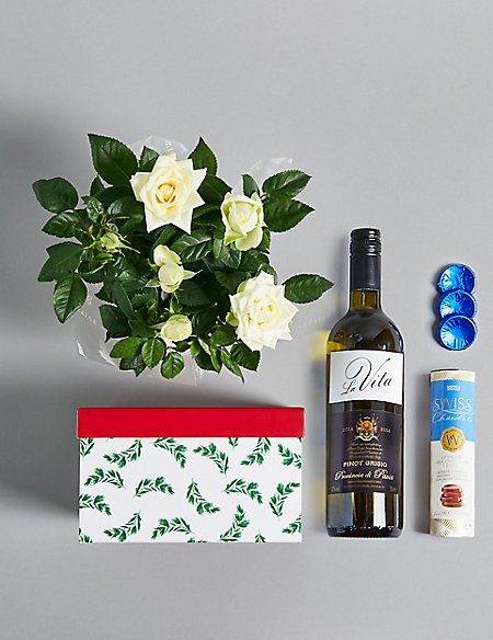 Festive White Wine & Rose Plant Hamper