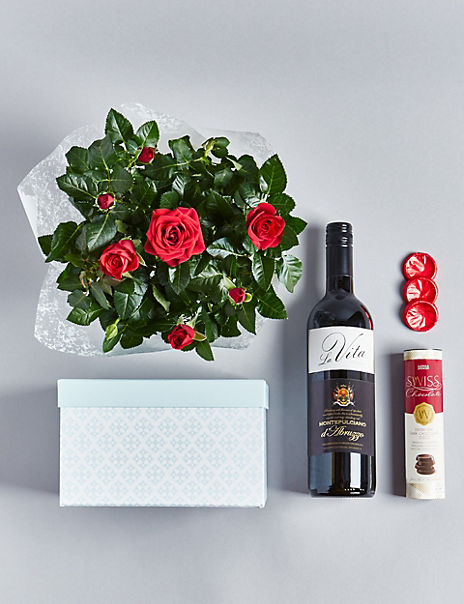 Red Wine, Rose Plant & Swiss Chocolates Hamper (Available until 2nd May)