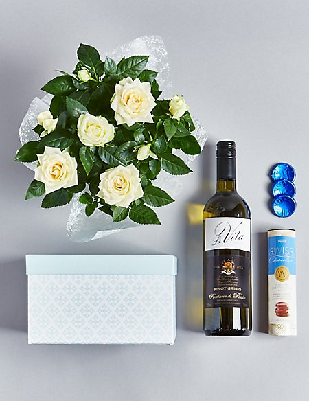 White wine rose plant swiss chocolates hamper available until white wine rose plant swiss chocolates hamper available until 2nd mightylinksfo
