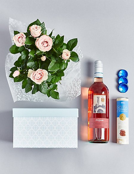 Rose Wine, Rose Plant & Swiss Chocolates Hamper (Available until 2nd May)