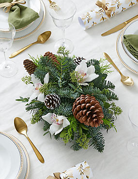 Festive White Candle Table Arrangement