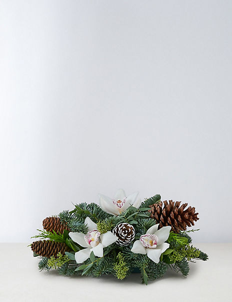 Festive White Candle Arrangement