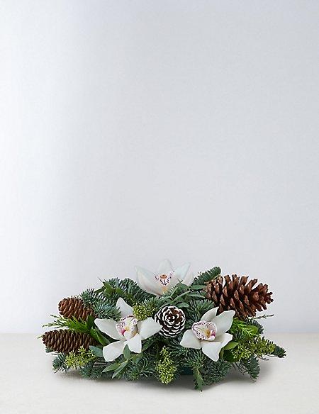 Festive White Candle Table Arrangement