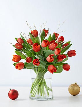 Red Christmas Tulip Bouquet (Available for delivery from 22nd November 2018)