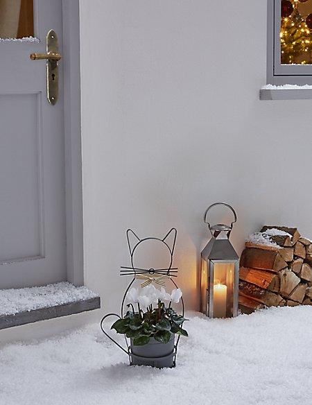 White Cyclamen Christmas Cat Planter