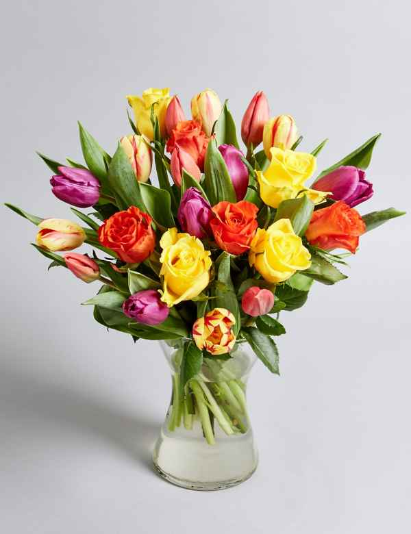 cbcdd3fc21a5 Tulip   Rose Bouquet with Vase. Free Delivery