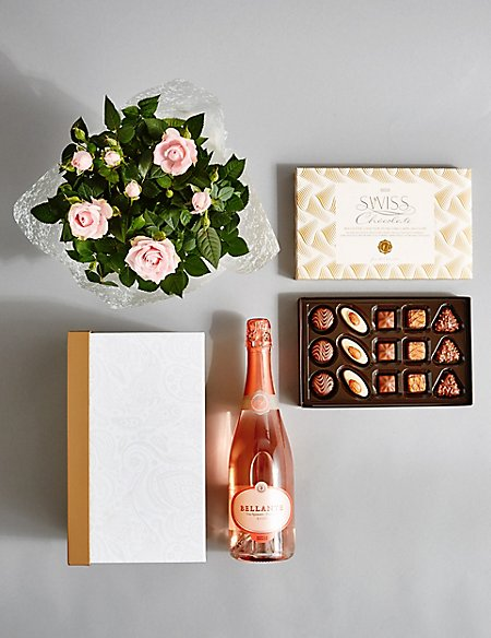 Sparkling Wine, Rose Plant & Swiss Chocolates Hamper (Available until 2nd May)