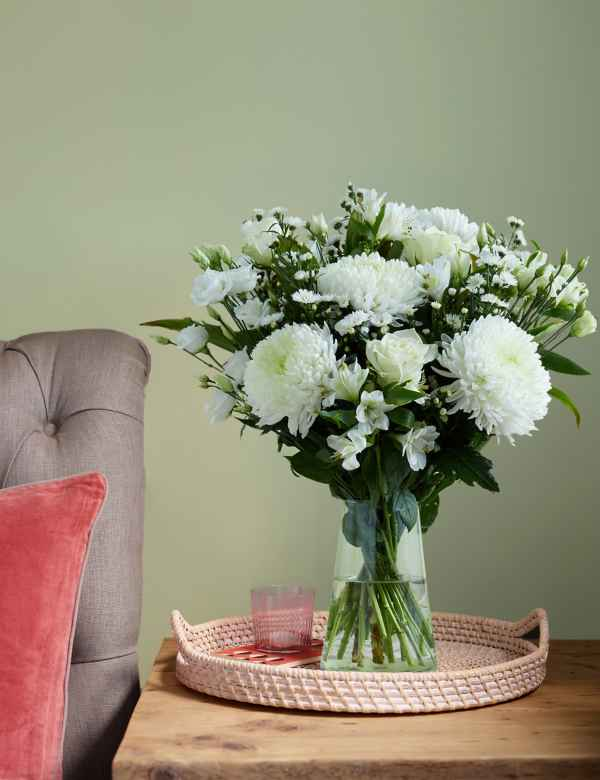4cac1a8fc83a Serene White Flower Bouquet. Free Delivery