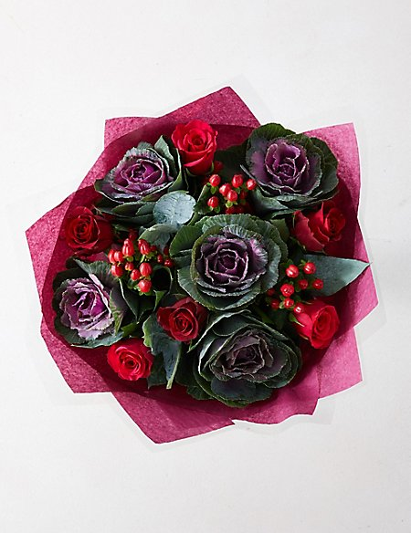 Brassica & Rose Bouquet (Available for delivery from 30th August 2018)