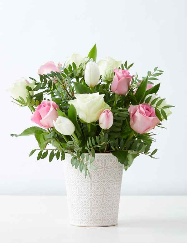Pink White Rose Flower Pail Free Delivery