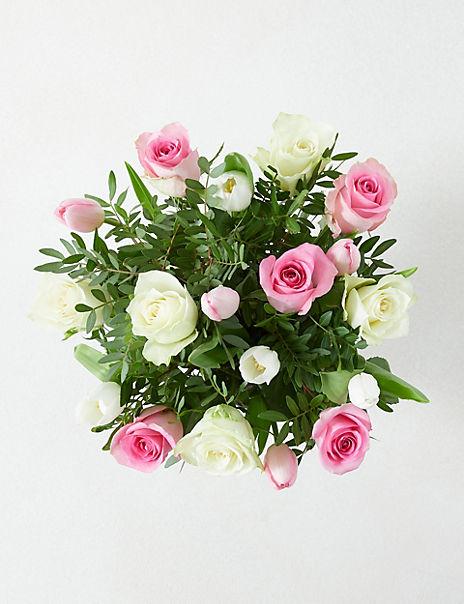 Pink & White Rose Pail
