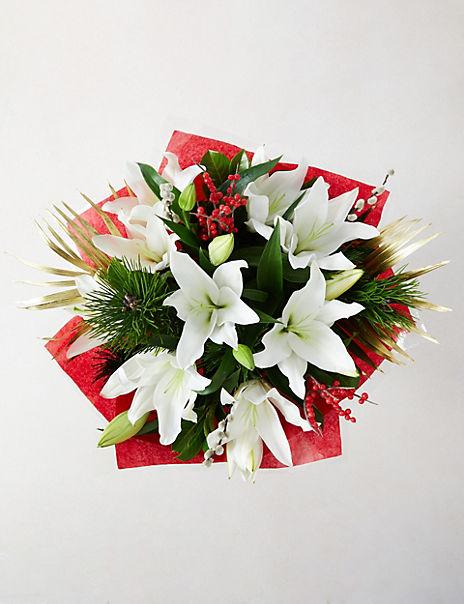 Festive Lily & Ilex Bouquet