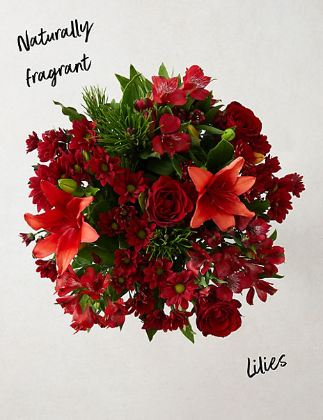 Christmas Chrysanthemum & Lily Bouquet