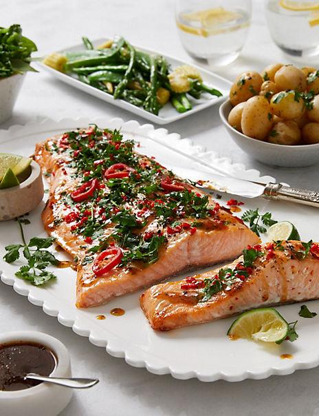 Soy, Chilli & Ginger Marinated Scottish Side of Salmon (Serves 6-8)