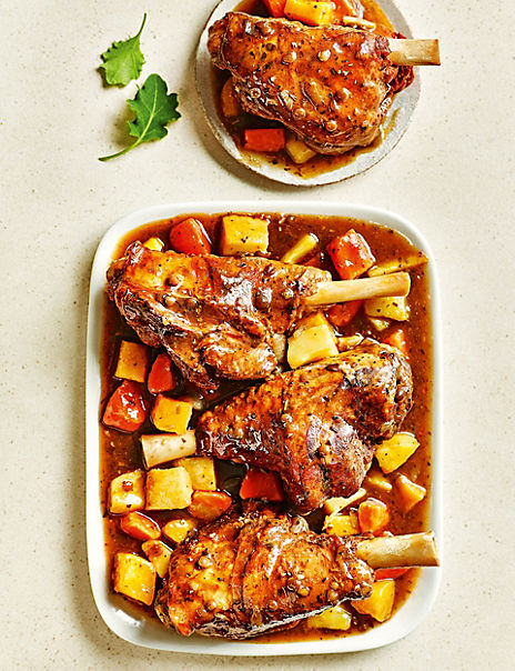 Slow-Cooked Lamb Shanks with Honey-Roast Root Vegetables (Serves 4)