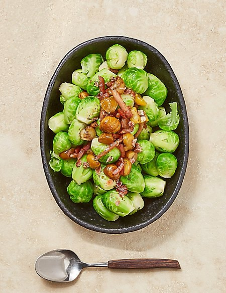 Brussels Sprouts with Bacon & Chestnuts (Serves 4) - Pre-Order: Collect between 5th & 20th December