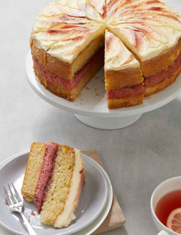 Strawberry Clotted Cream Triple Layer Cake Serves
