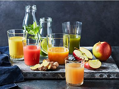 Selection of fruit juices