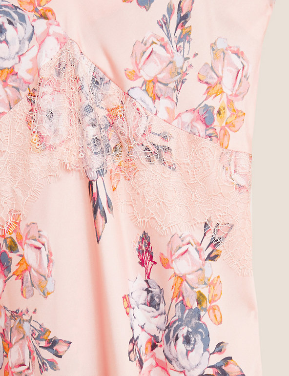 M/&S Pink Peach Floral Satin Chemise Nightie Size 12 Lace Trim Plunge