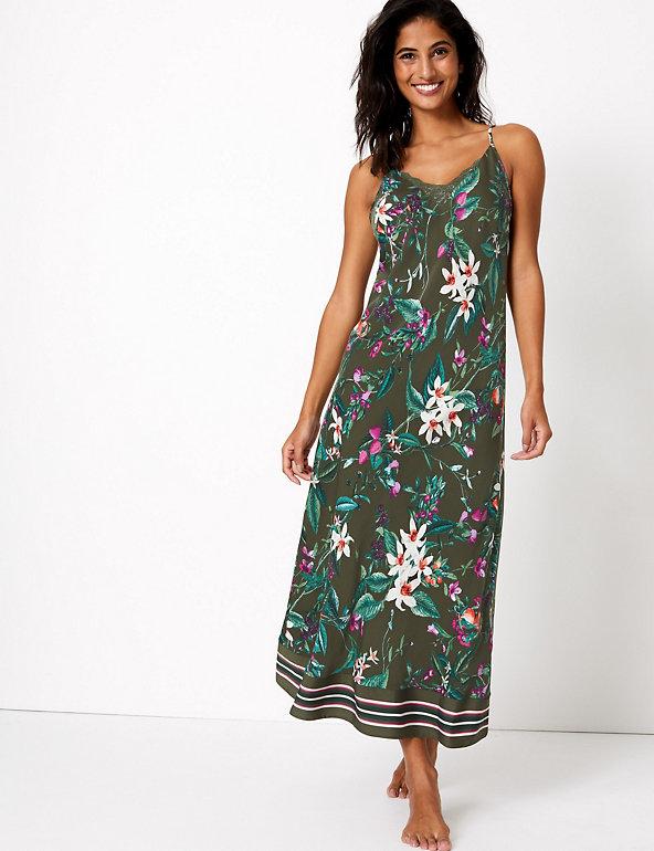 Satin Floral Print Midi CHEMISE NIGHTDRESS M/&S Sizes UK 6 /& 10 BLACK BNWT