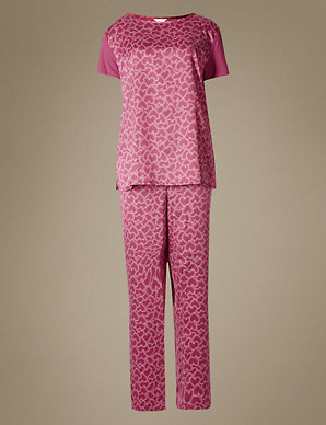 a701ba233d011 Satin Heart Print Short Sleeve Pyjama Set | M&S Collection | M&S