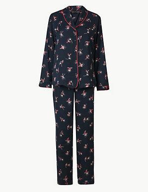 96cdc104bf9 Satin Hummingbird Revere Collar Pyjama Set
