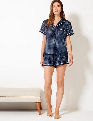 61ab61bda1 Satin Polka Dot Short Pyjama Set | M&S Collection | M&S
