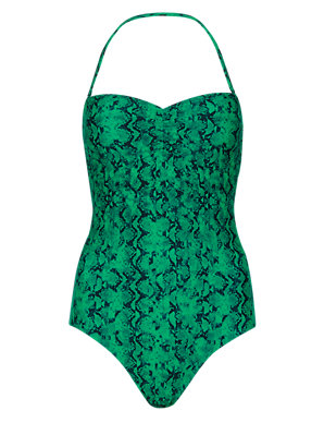 5199fae9ae4 Secret Slimming™ Faux Snakeskin Print Padded Bandeau Swimsuit | Limited  Edition | M&S