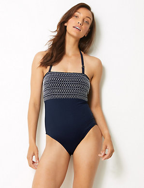 94e5f2f535 Secret Slimming™ Non-Wired Bandeau Swimsuit | M&S Collection | M&S