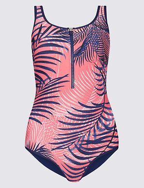 c78136c4968 Secret Slimming™ Zip-Up Printed Swimsuit | M&S Collection | M&S